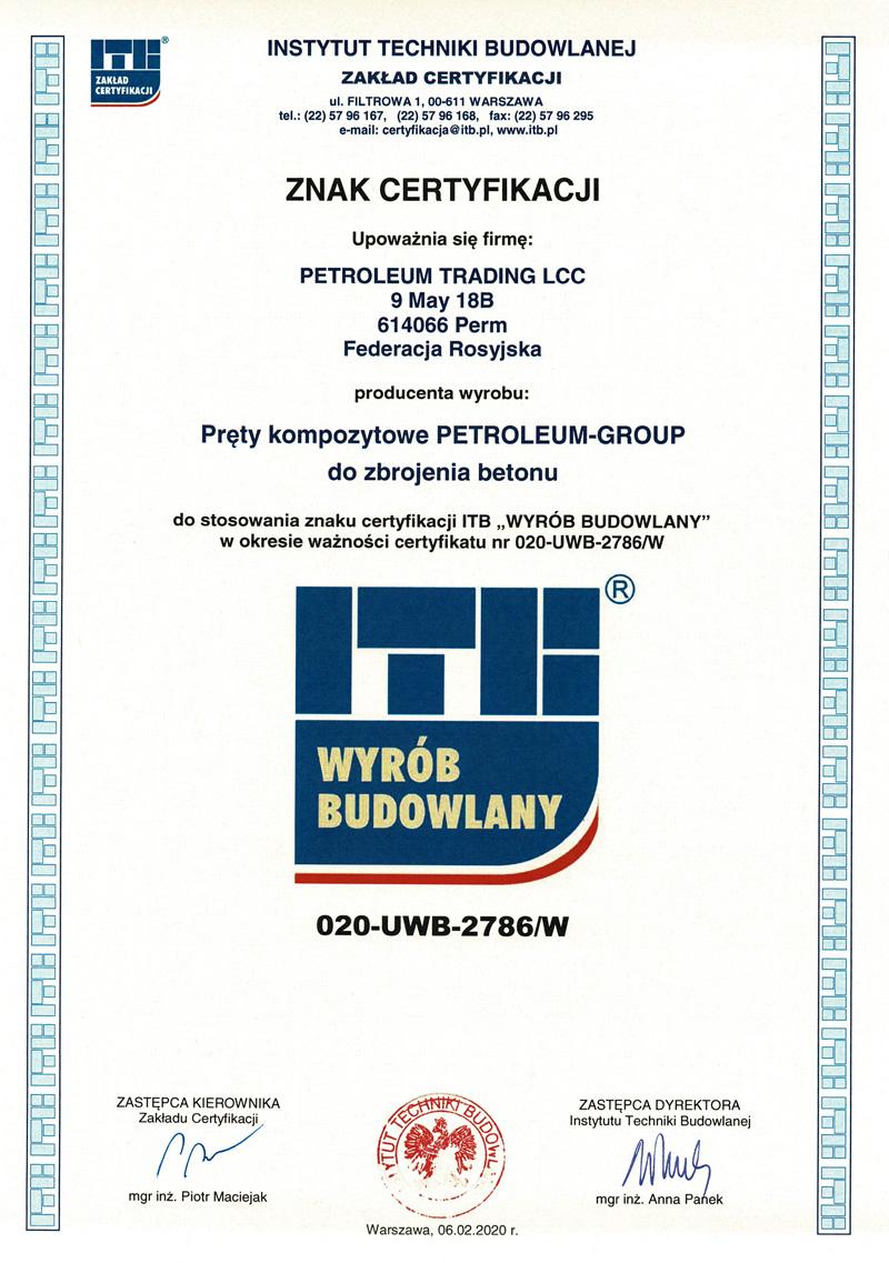 Certyfikat ITB Wyrób Budowlany pręty kompozytowe